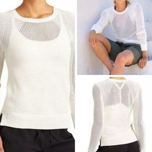 Athleta White Mesh Pullover Sweater - XS